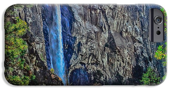 Cathedral Rock iPhone Cases - Bridalveil Falls in Yosemite Valley iPhone Case by  Bob and Nadine Johnston