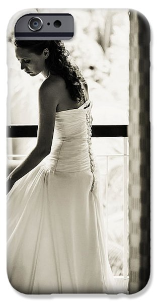 Bride at the Balcony II. Black and White iPhone Case by Jenny Rainbow