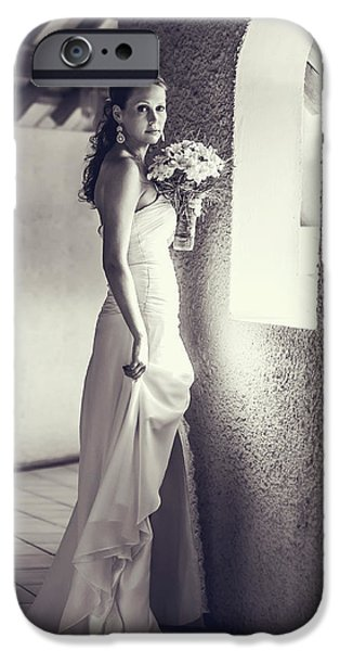 Bride at the Window. Black and White iPhone Case by Jenny Rainbow