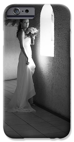 Bride at the Window I. Black and White iPhone Case by Jenny Rainbow