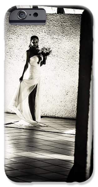 Bride. Black and White iPhone Case by Jenny Rainbow