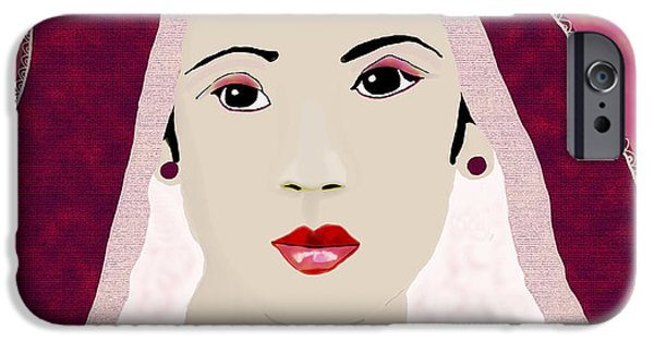 Lips iPhone Cases - Bride in red  iPhone Case by Kate Farrant