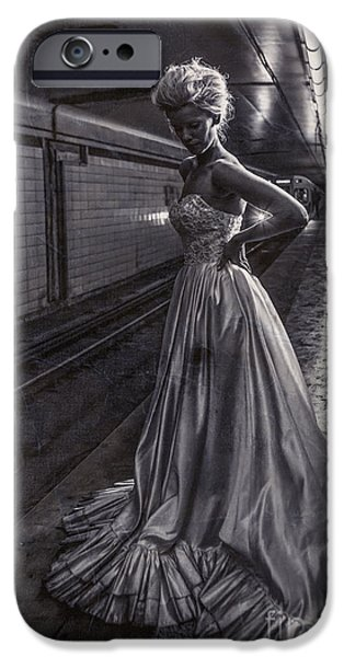Bride iPhone Cases - Bride in the Subway iPhone Case by Diane Diederich