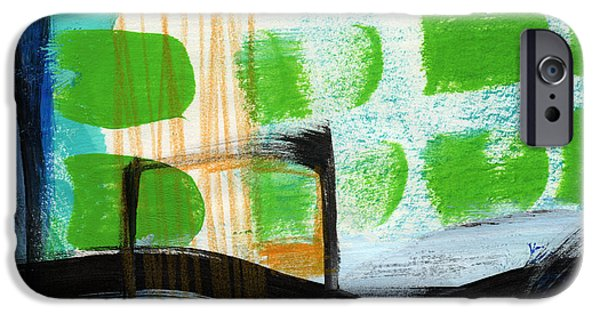 Modern Abstract Mixed Media iPhone Cases - Bridge- Abstract Landscape iPhone Case by Linda Woods