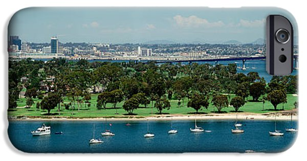 Built Structure iPhone Cases - Bridge Across A Bay, Coronado Bridge iPhone Case by Panoramic Images