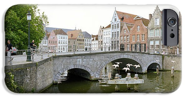 History Channel iPhone Cases - Bridge Across A Channel, Bruges, West iPhone Case by Panoramic Images