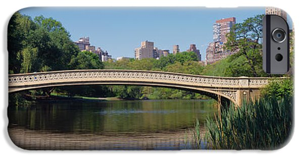 Bow Bridge iPhone Cases - Bridge Across A Lake, Central Park, New iPhone Case by Panoramic Images