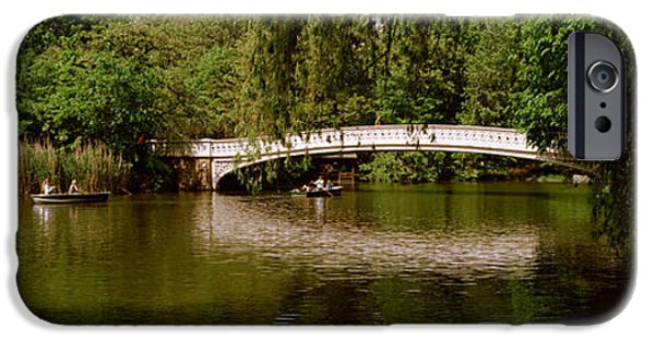 Mode Of Transport iPhone Cases - Bridge Across A Lake, Central Park iPhone Case by Panoramic Images