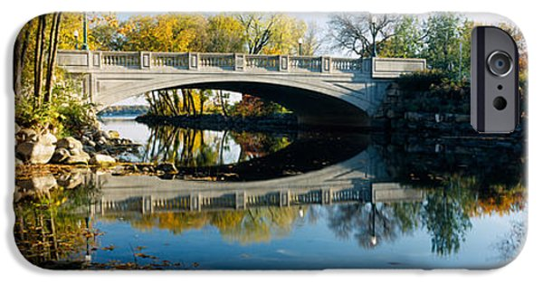 Connection iPhone Cases - Bridge Across A River, Yahara River iPhone Case by Panoramic Images