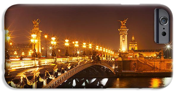 Connection iPhone Cases - Bridge Across The River At Night, Pont iPhone Case by Panoramic Images