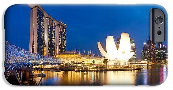 Helix iPhone Cases - Bridge Across The River, Helix Bridge iPhone Case by Panoramic Images