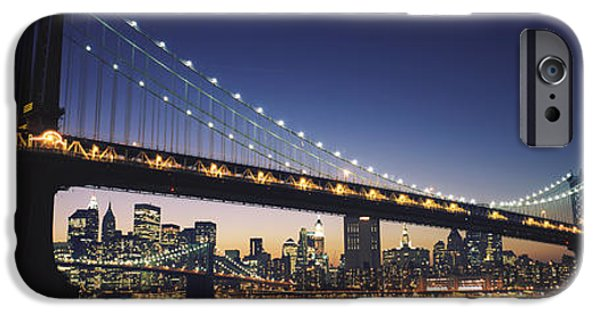 Built Structure iPhone Cases - Bridge Across The River, Manhattan iPhone Case by Panoramic Images