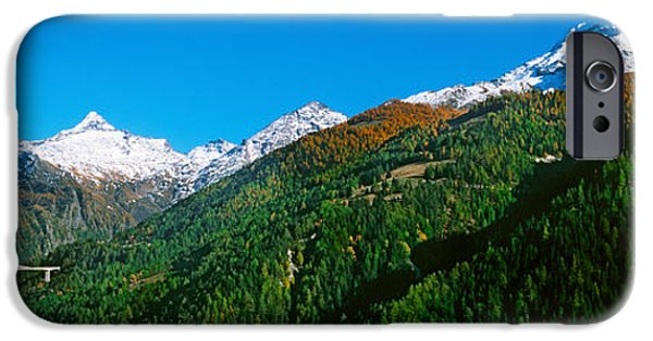 Mountain iPhone Cases - Bridge At Simplon Pass Road In Autumn iPhone Case by Panoramic Images
