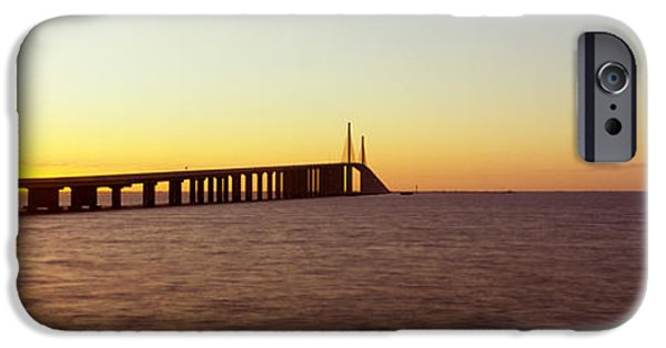 Connection iPhone Cases - Bridge At Sunrise, Sunshine Skyway iPhone Case by Panoramic Images