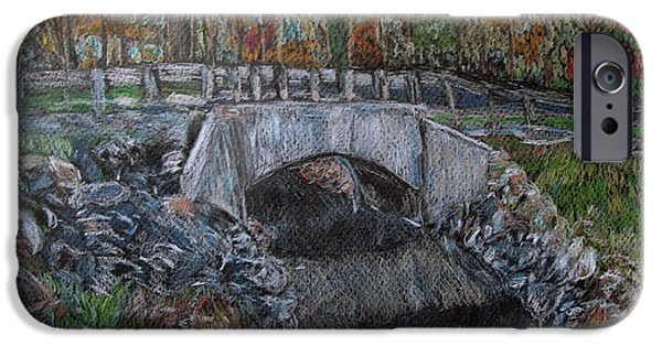 Fall Scenes Drawings iPhone Cases - Bridge at the Bushkill Trail iPhone Case by Diane Paulhamus