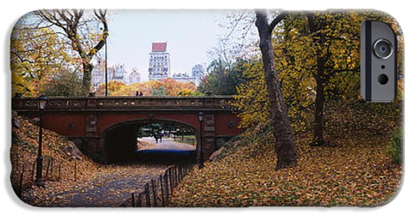 Asphalt iPhone Cases - Bridge In A Park, Central Park iPhone Case by Panoramic Images