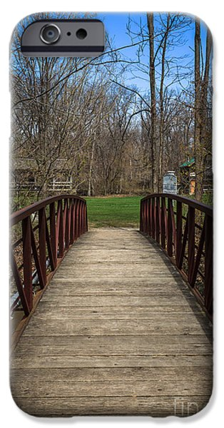 Hobart iPhone Cases - Bridge in Deep River County Park Northwest Indiana iPhone Case by Paul Velgos