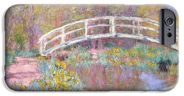 Reflecting Trees iPhone Cases - Bridge in Monets Garden iPhone Case by Claude Monet