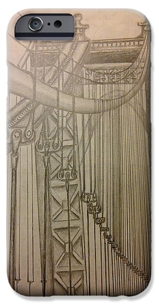 Suspension Drawings iPhone Cases - Bridge in New York iPhone Case by Irving Starr
