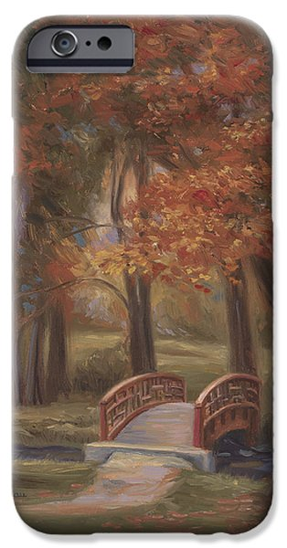 The Fall iPhone Cases - Bridge In The Fall iPhone Case by Lucie Bilodeau