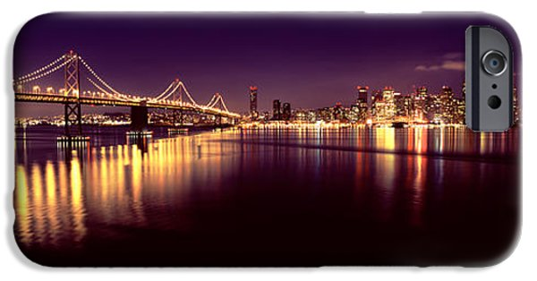 Built Structure iPhone Cases - Bridge Lit Up At Night, Bay Bridge, San iPhone Case by Panoramic Images