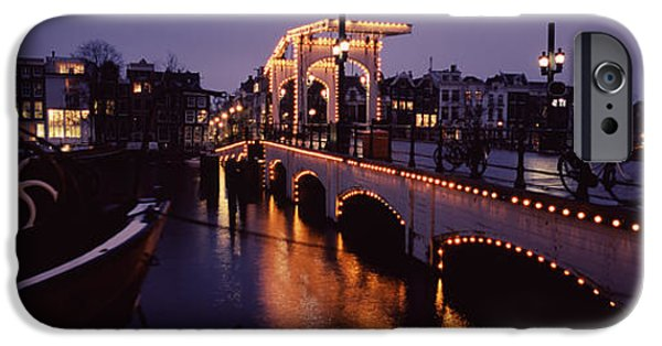 Built Structure iPhone Cases - Bridge Lit Up At Night, Magere Brug iPhone Case by Panoramic Images
