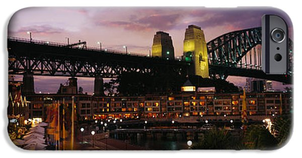 Connection iPhone Cases - Bridge Lit Up At Night, Sydney Harbor iPhone Case by Panoramic Images