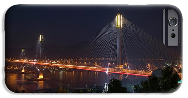 Connection iPhone Cases - Bridge Lit Up At Night, Ting Kau iPhone Case by Panoramic Images