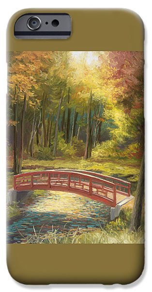 Scenery Paintings iPhone Cases - Bridge iPhone Case by Lucie Bilodeau