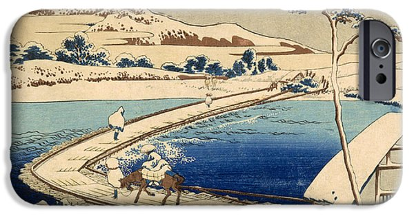 Snowy Drawings iPhone Cases - Bridge of Boats at Sawa iPhone Case by Hokusai Katasushika