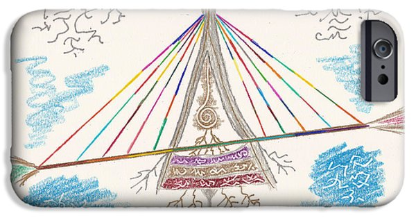Suspension Drawings iPhone Cases - Bridge of Light iPhone Case by Mark David Gerson
