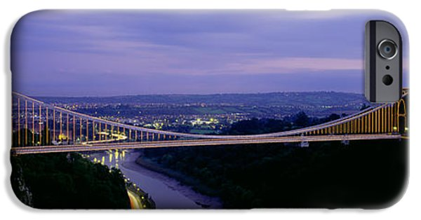 Horizon Over Land iPhone Cases - Bridge Over A River, Clifton Suspension iPhone Case by Panoramic Images