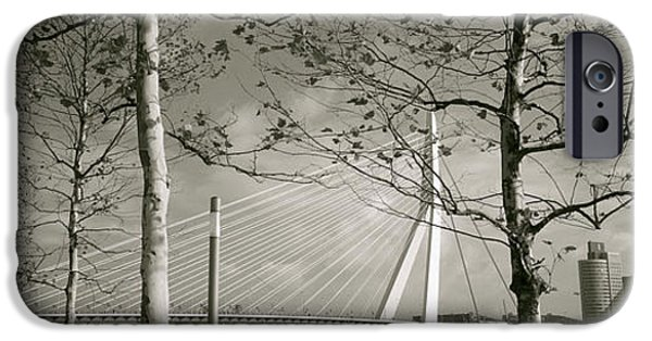 Connection iPhone Cases - Bridge Over A River, Erasmus Bridge iPhone Case by Panoramic Images