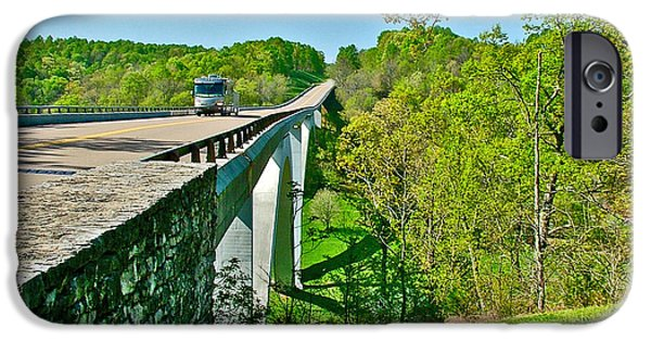 Natchez Trace Parkway iPhone Cases - Bridge over Birdsong Hollow at Mile 438 of Natchez Trace Parkway-Tennessee iPhone Case by Ruth Hager