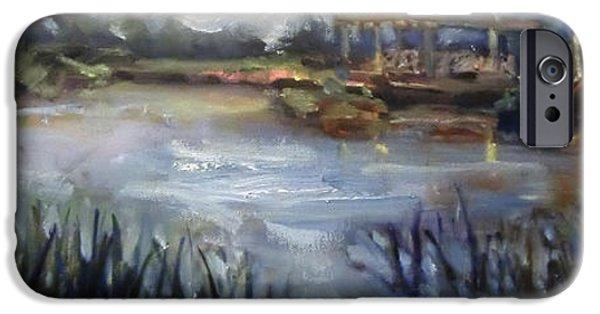 Garden Scene Paintings iPhone Cases - Bridge Over Blue Pond iPhone Case by Mitzi Lai