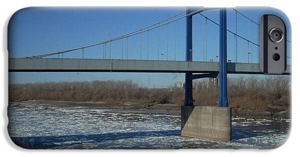 Winter Scene iPhone Cases - Bridge Over Icy River iPhone Case by Mark McReynolds