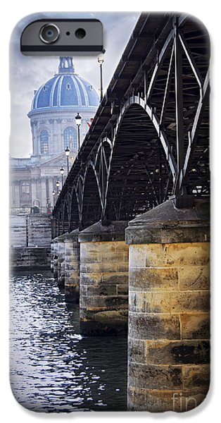 River View iPhone Cases - Bridge over Seine in Paris iPhone Case by Elena Elisseeva