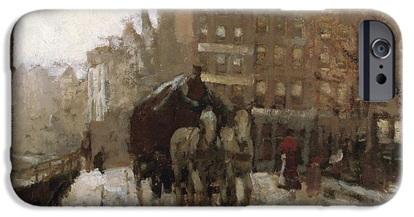 White Christmas iPhone Cases - Bridge over Singel Canal by the Paleisstraat iPhone Case by Georg Hendrik Breitner