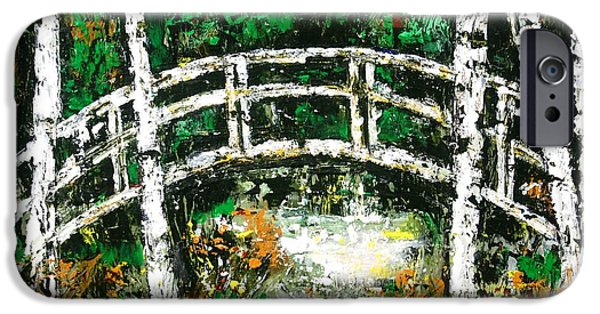 Fall Scenes Drawings iPhone Cases - Bridge Over Stream iPhone Case by Lisa Carroccio