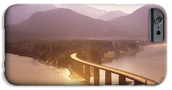 Pastel iPhone Cases - Bridge Over Sylvenstein Lake, Bavaria iPhone Case by Panoramic Images