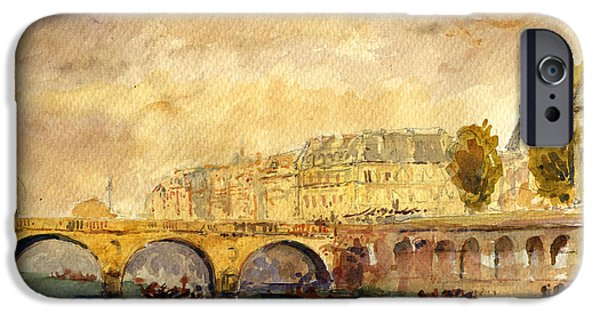 Notre Dame Cathedral iPhone Cases - Bridge over the Seine Paris. iPhone Case by Juan  Bosco