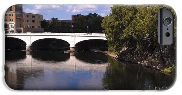 Indiana Scenes iPhone Cases - Bridge over the St. Joseph River  --  South Bend iPhone Case by Anna Lisa Yoder