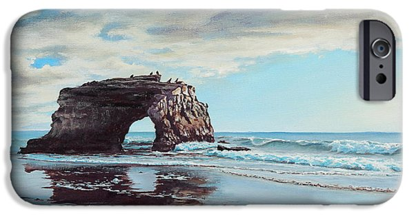 Santa Cruz iPhone Cases - Bridge Rock iPhone Case by Joe Mandrick