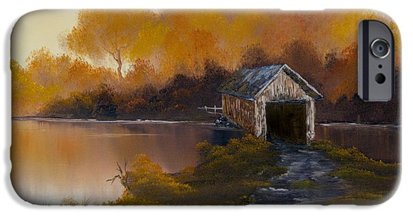 Bob Ross Paintings iPhone Cases - Covered Bridge in Fall iPhone Case by C Steele