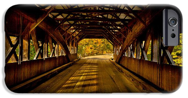 Covered Bridge Mixed Media iPhone Cases - Bridge to Fall Color iPhone Case by Colleen Crowley
