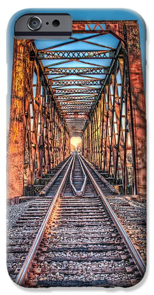 Rust Pyrography iPhone Cases - Bridge to Nowhere iPhone Case by Corey Cassaw