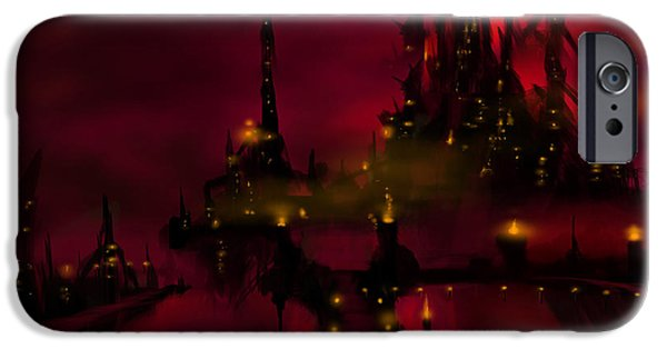 Thunder Paintings iPhone Cases - Bridge to Red Castle iPhone Case by James Christopher Hill