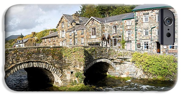 Connection iPhone Cases - Bridge With Houses At Beddgelert iPhone Case by Panoramic Images