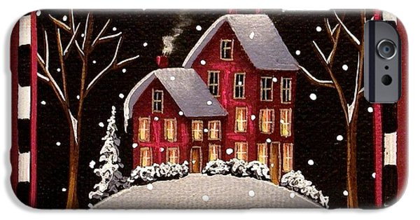 Snow Scene iPhone Cases - Bridgeton Lane iPhone Case by Catherine Holman