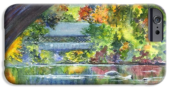 Covered Bridge Mixed Media iPhone Cases - Bridgeview Vermont iPhone Case by Carol Wisniewski